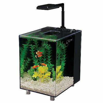 Penn Plax 2 Gallon Prism Nano Aquarium Kit, Black