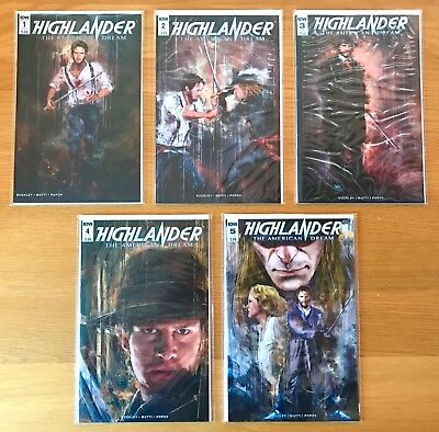 New Unread Highlander American Dream Complete Issues 1-5 Idw Comics First Prints