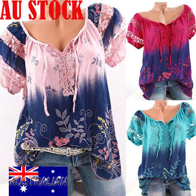 Plus Size Womens V Neck Short Sleeve Lace Up T-shirt Casual Loose Tops Blouse AU
