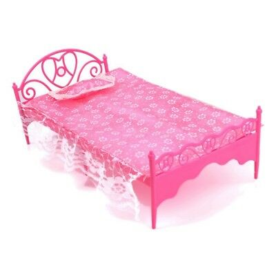 Beautiful Plastic Bed Bedroom Furniture For Barbie Dolls Dollhouse A8Z4