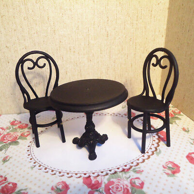Dollhouse Room Balcony Garden Furniture 1/12 Black Table with 2 Chairs Set