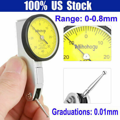 0-0.8mm Precision Dial Test Indicator Level Gauge Scale Metric Dovetail Rails US