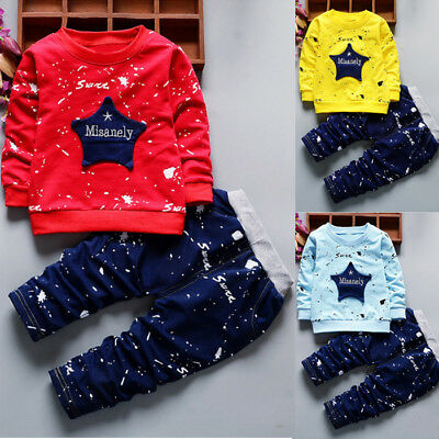 Lively Toddler Kids Baby Boy Long Sleeve T-shirt Tops+Pants Outfits Clothes Set