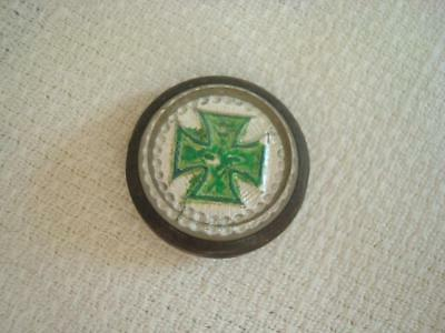 Antique Victorian Picture Nail Cover Top Only Sulfide Glass Green Cross 3/4 In.