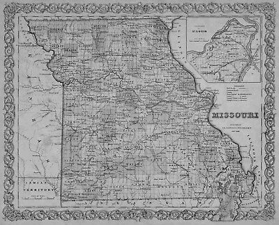 1855 MISSOURI MO MAP Harrisonville Hazelwood Independence Jackson Jefferson City