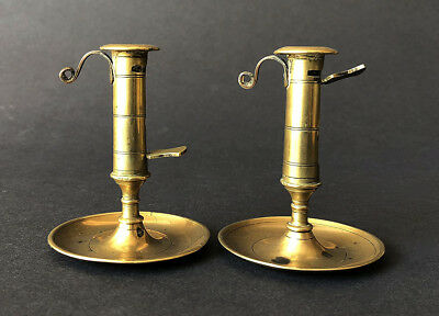 Unrepeatable Pair Of Miniature English Brass Portable Ejector Tapersticks 1775