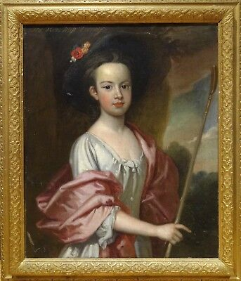 Large 18th Century English Master Lady Portrait Pink Girl Antique Oil Painting