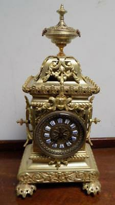 french striking brass cased mantel clock c1900s