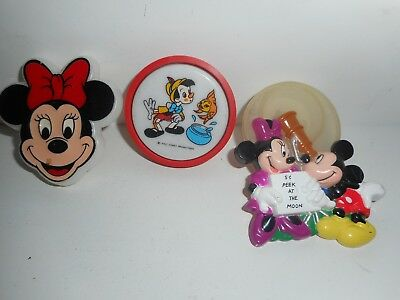Vintage 70s 80s Walt Disney Night Light Wall Plugin Lot Mickey Minnie Pinocchio