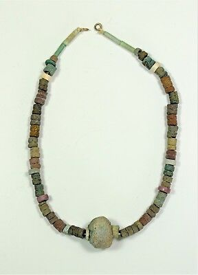 Egypt: A short faience bead necklace, 23.5cm long.