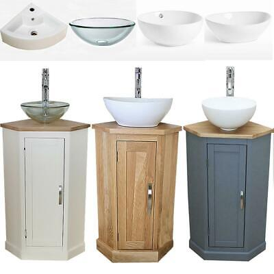 Bathroom Vanity Corner Unit | Oak Sink Cabinet | Ceramic Basin Tap & Plug Option