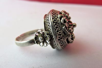 UNIQUE RARE! Antique old beautiful silver ring filigree 19 century - 7g