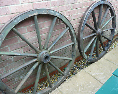 PAIR OF LARGE 19th. CENTURY MILITARY CANNON CARRIAGE WHEELS