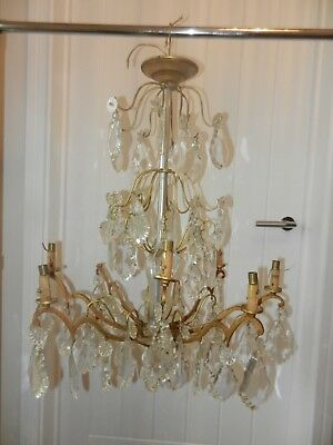 Rare Old / Antique French Chandelier With Crystal Droplets And Gilt  Metal Frame