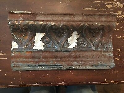 Antique Tin Ceiling Cornice Tile Heart and Fleur De Lis Pattern 17 inches O