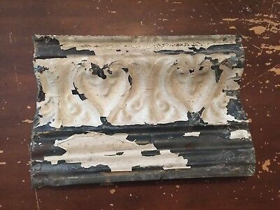 Antique Tin Ceiling Cornice Tile Heart and Fleur De Lis Pattern 14 inches N