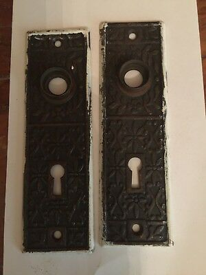 Pair Of Antique Brass Door Knob Backplate Ornate Design K