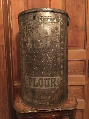 Antique Large Country Store Flour Bin Tin Cream City Ware Milwaukee