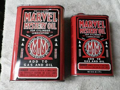2 Marvel Mystery Oil Tins Cans Qt & Pint No Bar Code