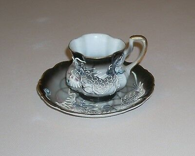 Vintage Japan Moriage Dragonware Scalloped Demitasse Cup and Saucer
