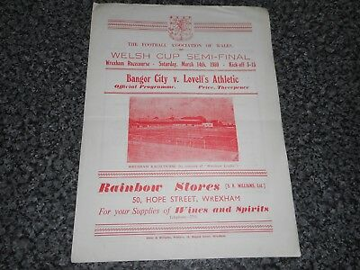 WREXHAM  :  BANGOR CITY  v  LOVELL'S  ATHLETIC ( NEWPORT ) 1958/9 WELSH CUP S/F