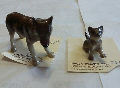 Lot of 2 Retired Hagen Renaker Baby Wolf & Moma Miniature