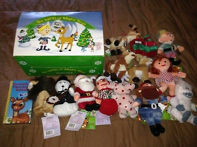 The Island of Misfit toys cradboard box and beanie dolls with casset tape
