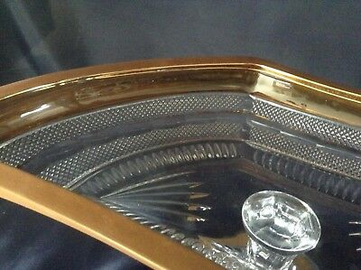 """Czech Bohemia crystal glass - Bowl 45cm """"Moser""""  decorated  double gold"""