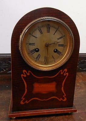 french mahogany inlaid crossbanded striking mantel clock