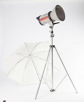 Elinchrom 22 Studio Flash Head, with Elinchrom Stand and White Brolly