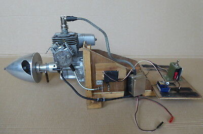 Large model aircraft petrol engine, on test R/C bed, made in Japan.
