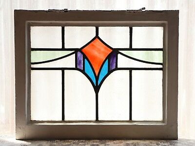 Antique Stained Glass Window Four (4) color Art Deco Swag (3136)