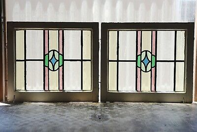 Pair of Antique Stained Glass Windows Five (5) color Craftsman Style (3139)