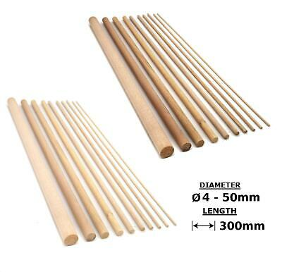 Oak or Beech Wood Dowels Smooth Rod Pegs - 300mm length, 4 - 50mm diameter