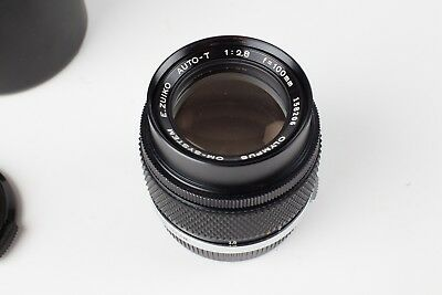 Olympus E-Zuiko Auto-T 100mm f2.8 OM System Lens with Case. Good Condition.