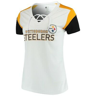 9556a1f99 NFL Team Apparel Pittsburgh Steelers TX3 COOL V-Neck Lace up Jersey Shirt  Womens