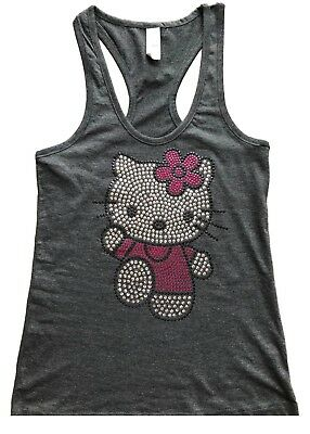 3ab666475 Sequin Hello Kitty Solid Tank Top Shirt Color Charcoal Size Small to XXL
