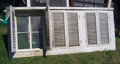 Old Vintage Antique Mullion Window In Case With Shutters Cottage Farmhouse