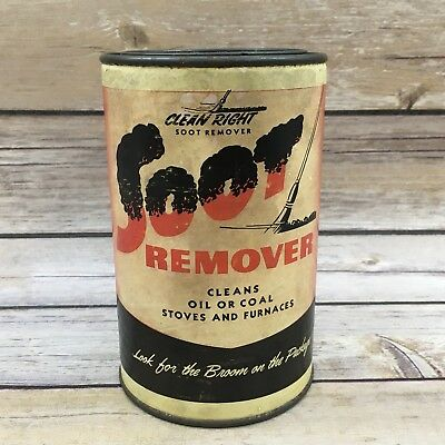 Vintage Clean Right Soot Remover Stoves and Furnace Advertising Can