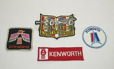 4 Sew On Patches Kenworth, Coyote AJ Foyt Enterprises, Firebird, Plymouth Patch