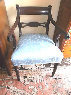 Superb Quality Antique Mahogany Regency Arm Chair with Fabric Seat