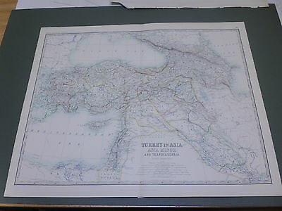 100% ORIGINAL LARGE TURKEY IN ASIA BLACK SEA  MAP BY K JOHNSTON C1870/s VGC