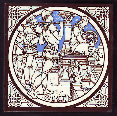 GARETH ANTIQUE MINTON TILE MOYR SMITH c1876 IDYLLS OF THE KING Series #E