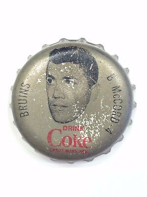 COCA COLA BOTTLE CAPS  NHL series Bob McCord Boston Bruins Canada Coke cap