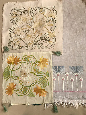 Lot VINTAGE ANTIQUE MISSION ARTS/CRAFTS Embroidered Pillow Tops Runner