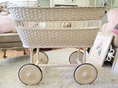 Antique Vintage Wicker Baby Carriage Bassinet Buggy Crib Wood Wheels Mattresses