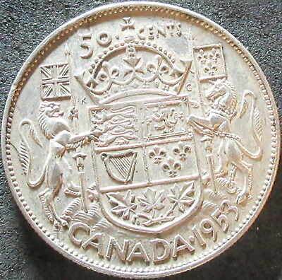 1953 Canada Silver Fifty Cent Coin