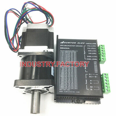 10:1 Nema23 Planetary Gearbox & 2PH CNC Stepper Motor Driver 3Nm 425oz-in L112mm