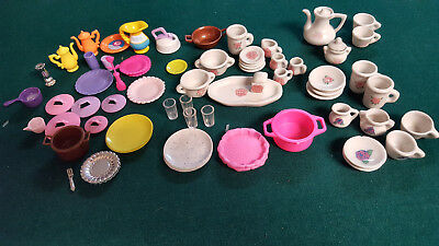 Lot vintage Pretty Port Ltd china and Barbie plastic dishes miniatures dollhouse
