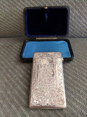 Sterling Silver Card Case Engraved H/M Cheshire 1901 with Original Box